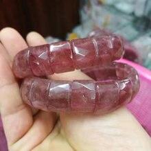 Натуральный клубничный кварцевый браслет из натурального камня