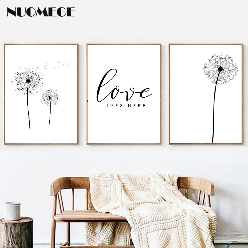 Dandelion Print Black And White Minimalist Poster Love Quote Canvas Painting Scandinavian Art Picture Nordic Style Home Decor