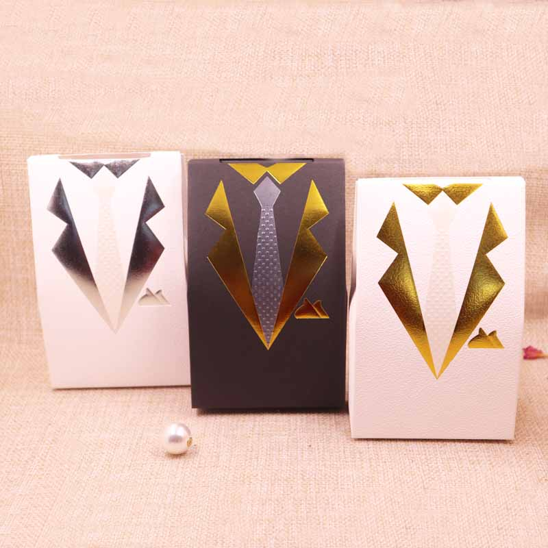 50 pcs 2018 hot sale new Handsome new three -color bow tie gift box kraft box gift box