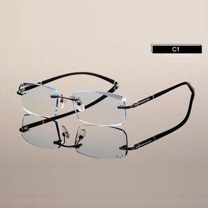 Image 3 - Fashion Eyeglasses A001 Diamond Trimming Cutting Rimless Eyeglasses Prescription Optical Glasses Frame for Men Eyewear