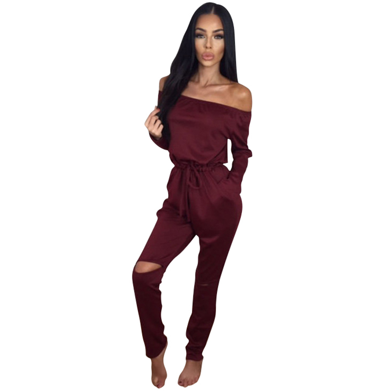Autumn 2016 Women Rompers Off Shoulder Long Sleeve ...