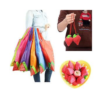 Moda nowy duży Eco torby do przechowywania truskawka składane torby na zakupy torba wielokrotnego użytku 8 kolorów trwałe torby do przechowywania tanie i dobre opinie Poliester Floral Ciąg Na co dzień