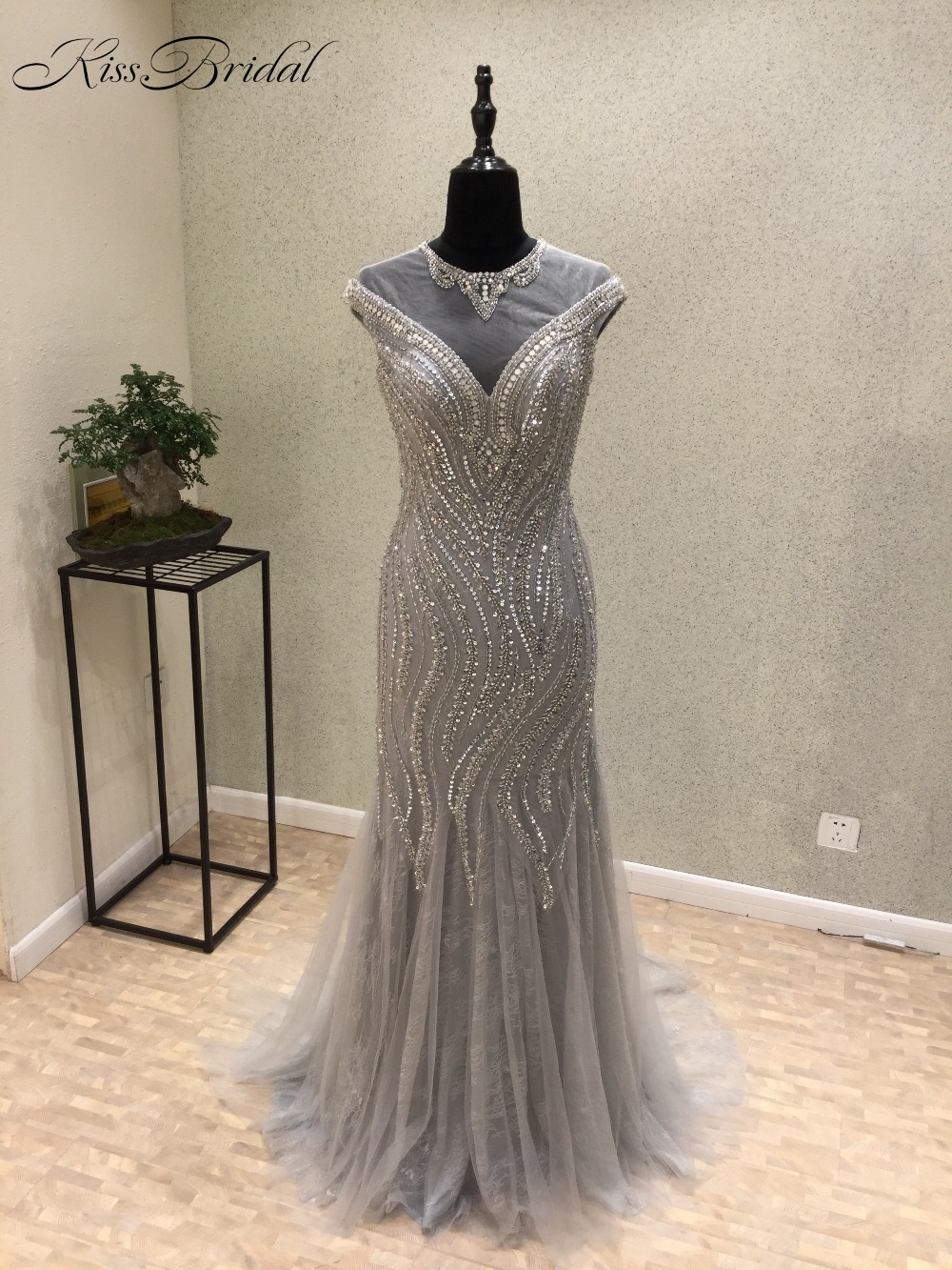 Vestido longo Sexy New   Evening     Dress   2017 O-Neck Cap Sleeve Beaded Tulle Sweep Train Prom   Dresses   Formal Gowns
