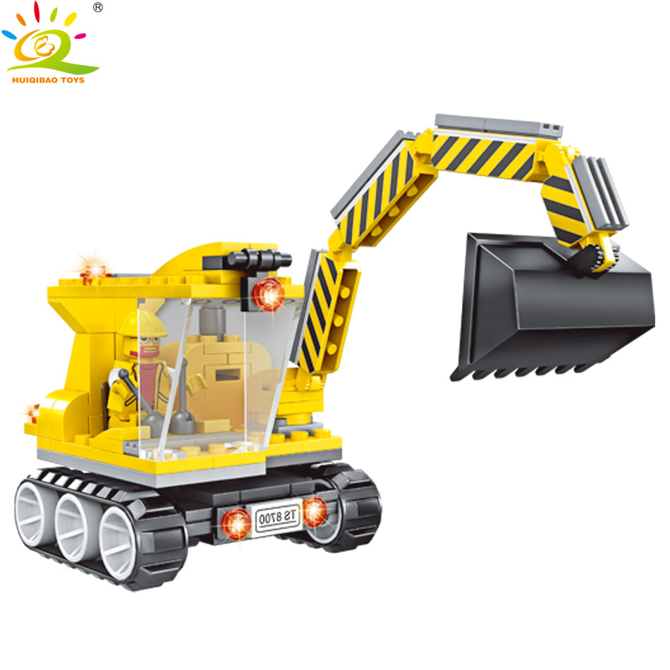 HUIQIBAO TOYS 144PCS Engineering Vehicle Excavator Building Blocks Construction Toys For Kids Compatible Legoed Creator Figures animal model figures big blocks toys compatible duploed giraffe panda lion monkey building blocks kids education toys for kids