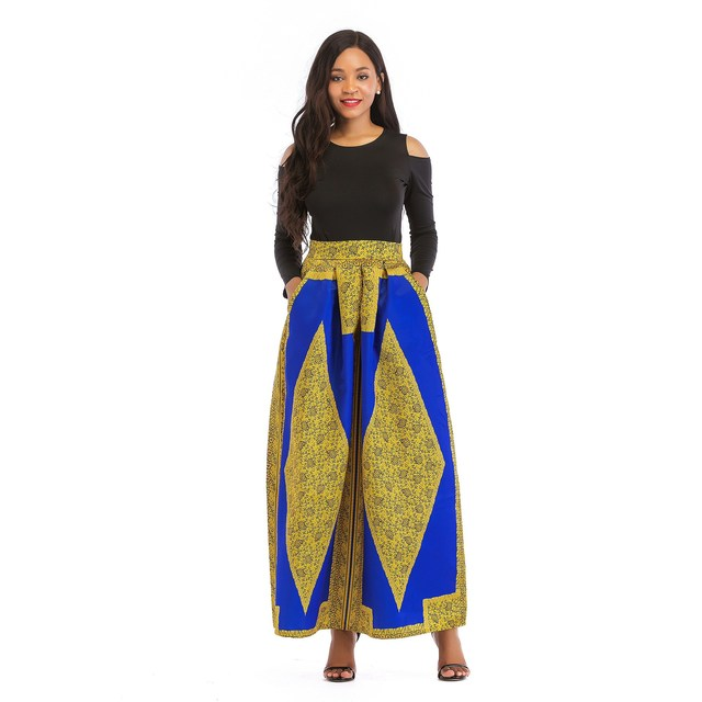 1ddb65853e9 Africa Dashiki Women Sets Cold Shoulder Long Sleeve Top And Long Skirt Set  Floral Print T
