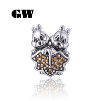 925 Sterling Silver Squirrel Charm Bracelet Pave Cz Brand Aimili Fine Beads Diy Jewelry Making X433