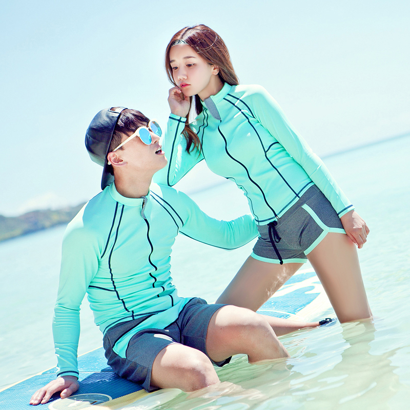 2018 New Rash Guards Front Zipper Solid green blue Plus Couples Surfing Suit Long Sleeves with Shorts Lovers Two Piece Beachwear random floral print tie front two piece outfits in blue