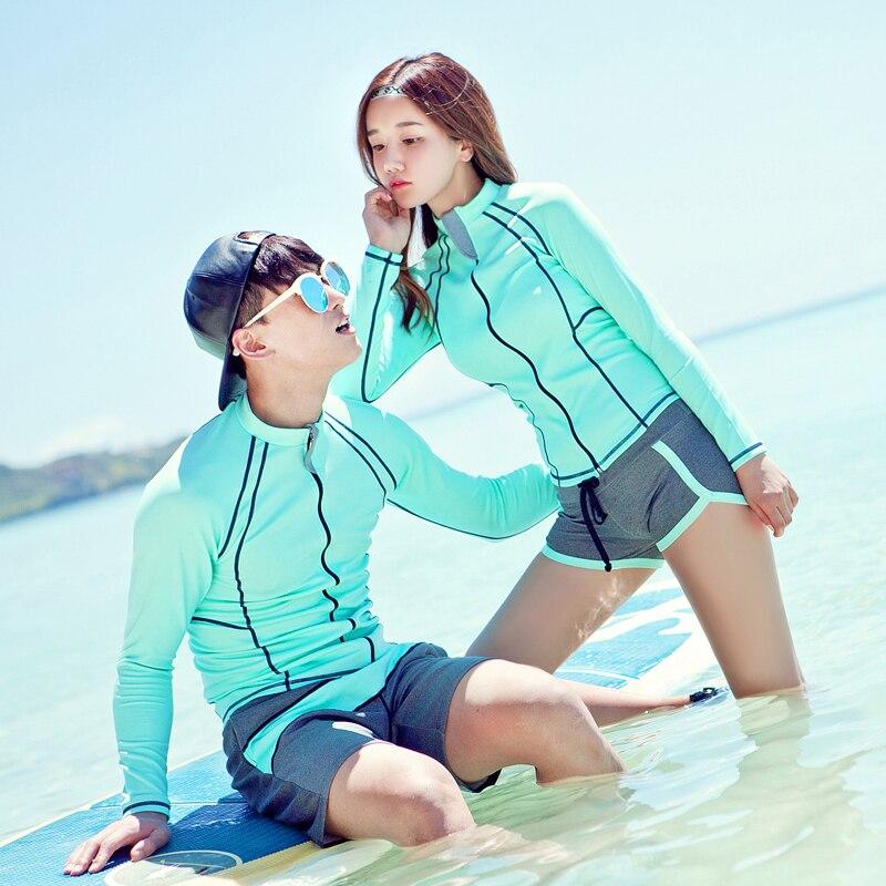 2018 Nouvelle Éruption Gardes Avant Zipper Solid vert bleu Ainsi que Les Couples Surf Costume Manches Longues avec Shorts Amoureux Deux Pièces beachwear
