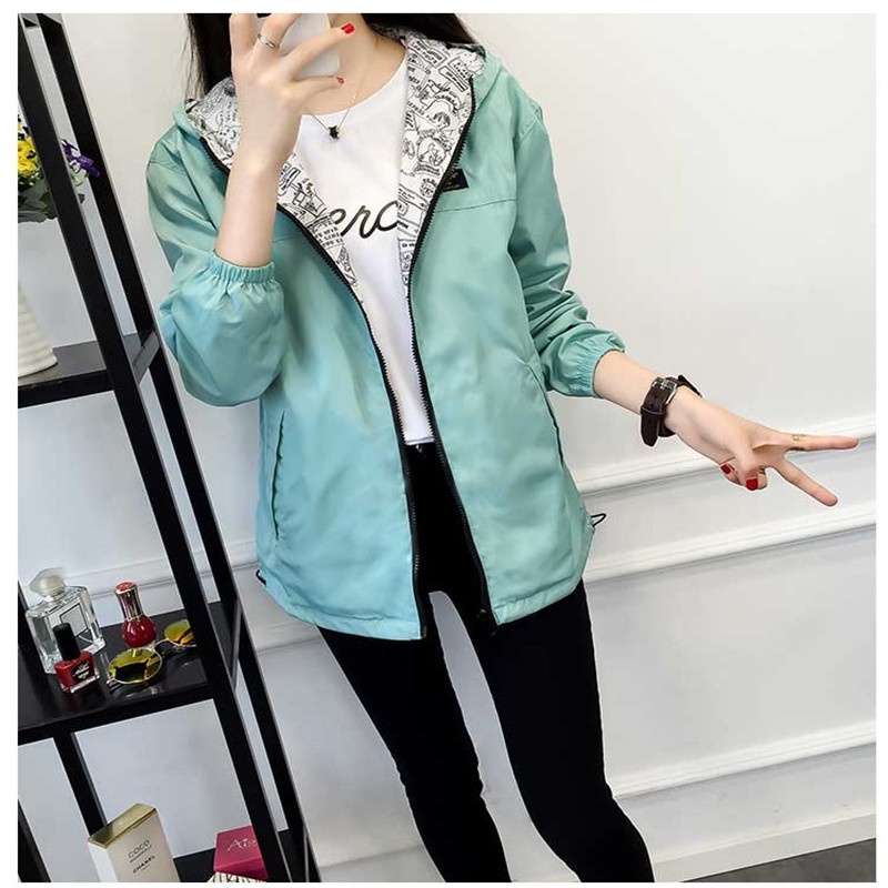 Spring Fashion women harajuku   Basic     Jacket   Pocket Zipper hooded two side wear Cartoon print Bomber   Basic     Jacket   Pocket