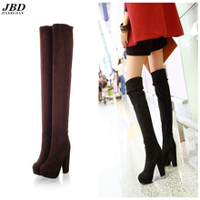 JIANBUDAN Brand design high-quality sexy women winter boots 2017 new knee over the knee elastic suede thigh high boots 35-43