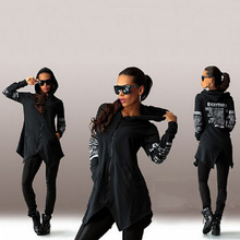 Printed Hoodie Tracksuit Tunic Pullover Top