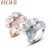 ROXI Exquisite rose golden colorful flower ring plated with AAA zircon,fashion jewelry for women,best Christmas gifts