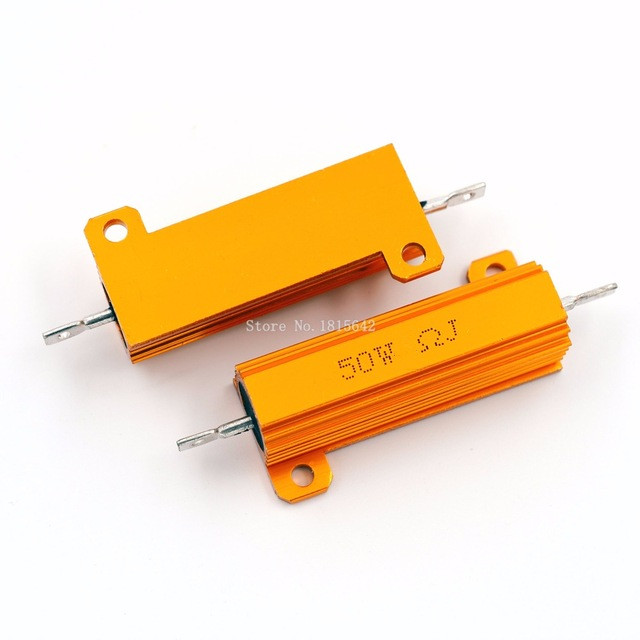RX24 50W Watt Power Metal Shell Aluminium Gold Resistor 0.1R 1R 2R 3R 4R 5R 6R 8R 10R 15R 20R 30R 40R 50R 100R 200R Resistance