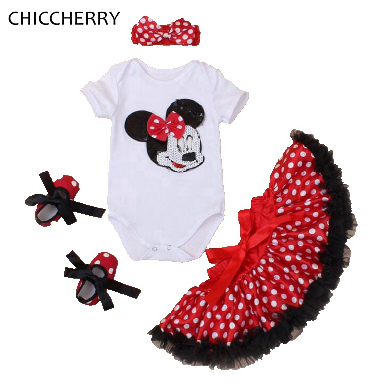 Cute Minnie New Born Baby Girl Summer Clothes Bodysuit Skirt Crib Shoes Headband Infant Clothing Toddler Birthday Tutu Sets