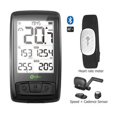 Wireless Bicycle Bike Speedometer Tachometer Cadence + Speed Sensor Weather SETB with Bluetooth Heart Rate Monitor