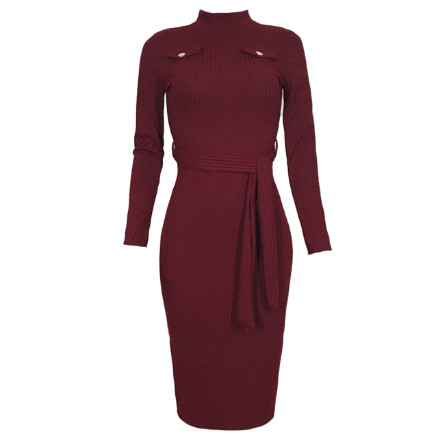 Women Autumn Winter Sweater Knitted Dress Belted Waist Slim Elastic Turtleneck Long Sleeve Bodycon Dresses Sexy Slim Wrap Dress
