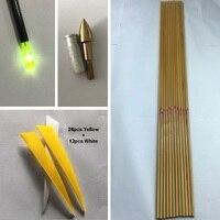 12 Stücke wirbelsäule 500 32 ''bambus haut Reinem Kohlenstoff Arrow Wellen, 12 stücke Einfügen, 12 stücke Punkt, 36 Stücke 5'' Türkei Flügel, 12 stücke beleuchtete nocke