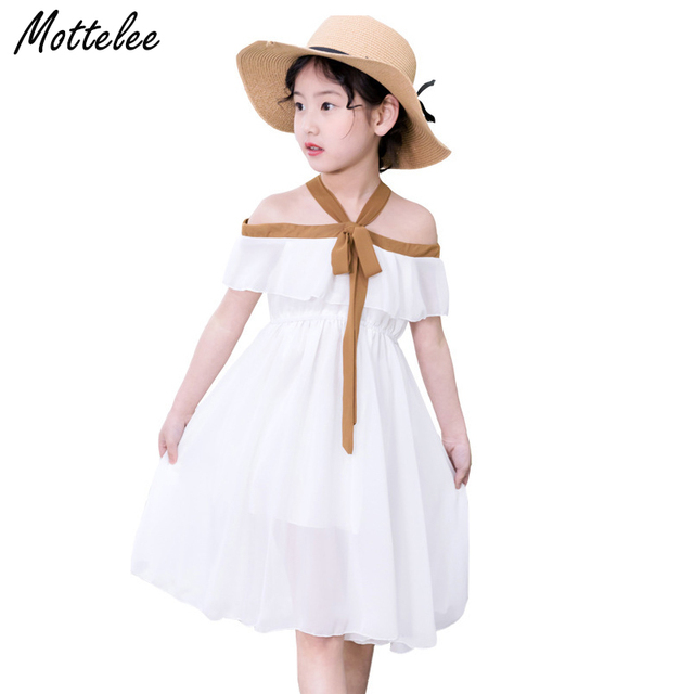 610ac9193460 Mottelee Girls Casual Dress Chiffon Kids Beach Dresses Off Shoulder Summer  Baby Frocks White Children Clothes for Girl 3-8 Years