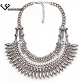 2016 Fashion Bohemian choker Statement necklace & pendants Vintage gypsy ethnic Silver maxi Necklace Women fine Jewelry