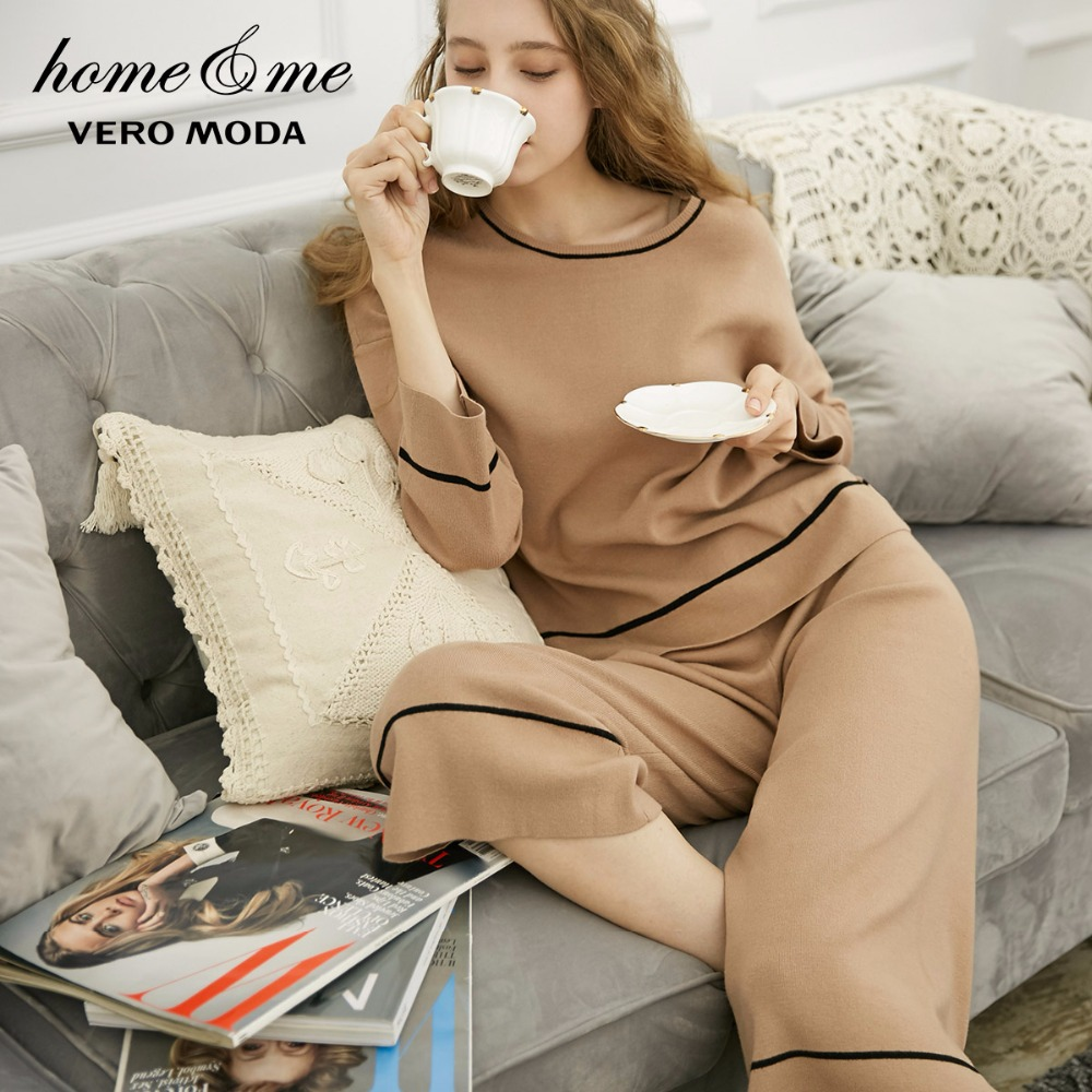Vero Moda new comfortable striped soft knit suit sweater homewear 3183K6506 in Pajama Sets from Underwear Sleepwears