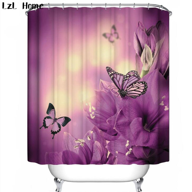 LzL Home Fancy Butterfly Printed Shower Curtain Eco Friendly Polyester Fabric Bath Waterproof Mildewproof