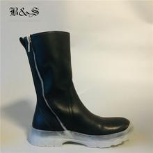 Czarny i Street mężczyźni zima 2018 skóry Napa z przezroczystym dnem wysokiej punk buty spersonalizowane projektant mężczyźni rock modne buty tanie tanio Dla dorosłych Prawdziwej skóry Skóra bydlęca Połowy łydki Buty motocyklowe Okrągły nosek Kożuch RUBBER Szycia Wiosna jesień