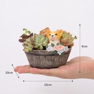 Image 5 - Roogo Amerikanischen Stil Blumentöpfe Harz Blume Töpfe Für Zu Hause Garten Dekoration Holz Bonsai Topf Sukkulenten Pflanzer Orchideen Kaktus