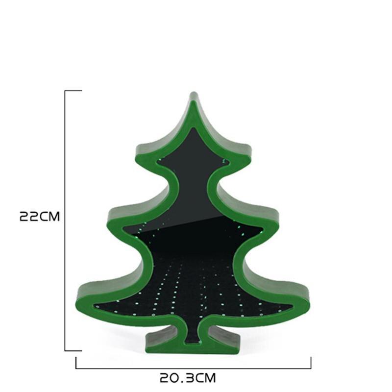 LED HD Mirror Christmas Tree Shape Neon Light Night Light Table Lamp Wall Decoration (Green)