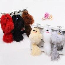 Cute Fluffy Crown Fox Ball Key Chain Rings Pompom Artificial Fox Fur Charm Keychain Car Bag Key Ring Women Jewelry Dolls Toy Car