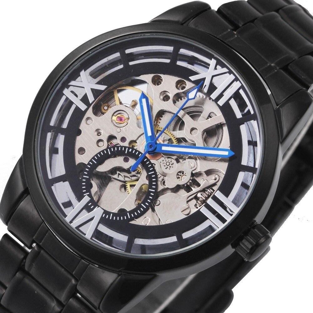 2018 Gewinner Männer Schwarz Mechanische Armbanduhren Skeleton Louvre Serie Design Römischen Ziffern Automatische Uhr Metallband