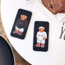 Luxury brand Skin texture moschin cover case for iphone 6 plus 7 7plus 8 8plus X XR XS MAX 10 cute bear Soft silicon phone coque(China)