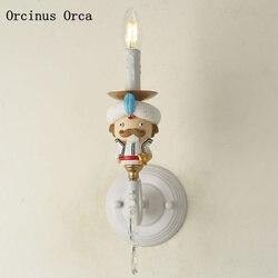 Amerykańska kreatywny król kinkiet dla dzieci lampka nocna do pokoju Cartoon kreatywny LED lalki kolor żywica kinkiet darmowa wysyłka