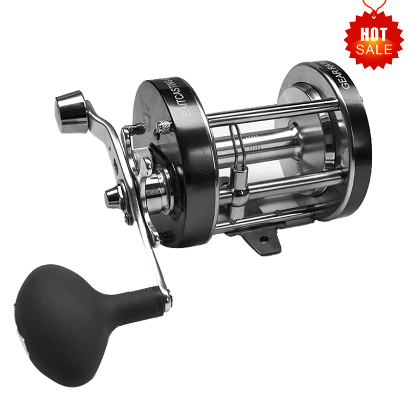цена на Hu Ying 3.2:1 40LB Full Metal Boat Fishing Reel Drag Power Drum Trolling Reel Right Hand Available deep Sea Fishing Reel