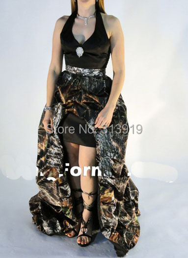 Livraison gratuite halter mossy oak camo micros détachable train robes de bal 2015 nouveaux styles camouflage de bal dress