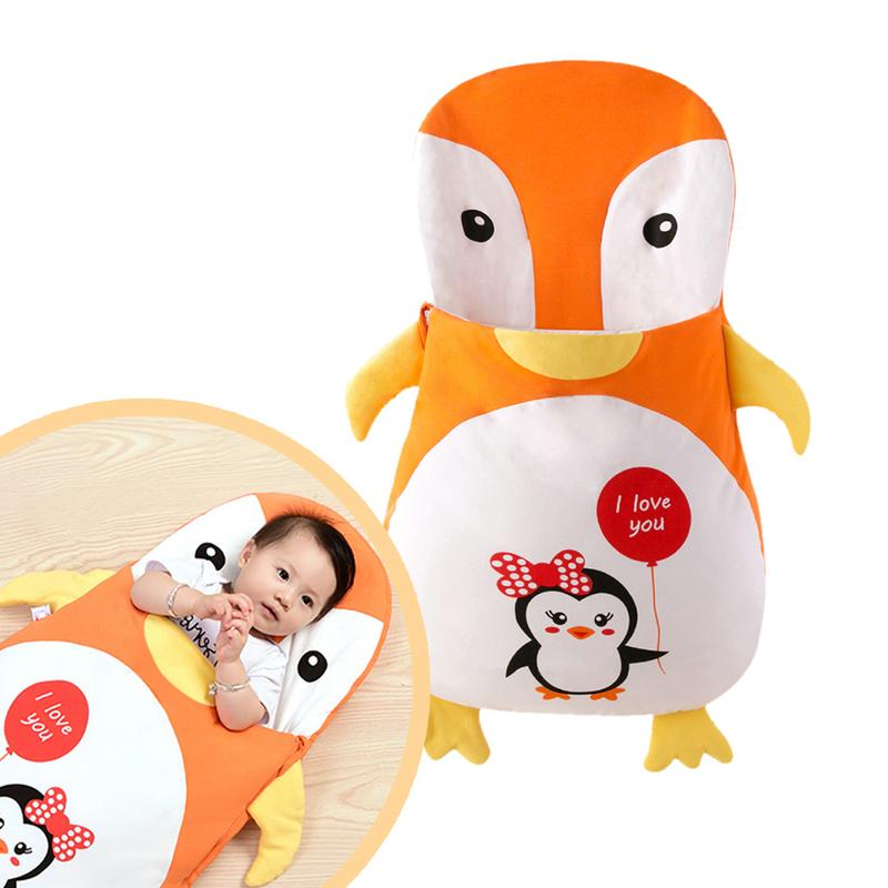 Baby Infant Cartoon Penguin Anti-Kicking Sleeping Bag Winter Envelope For Newborns Sleep Thermal Sack Cotton Kids Sleep Sack baby sleeping bag winter envelope for newborns sleep thermal sack cotton kids sleep sack in the baby cart blanket