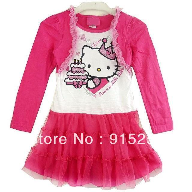 Retail False Two Piece Girl Dress Kitty Cat Cute Dress Birthday Cake