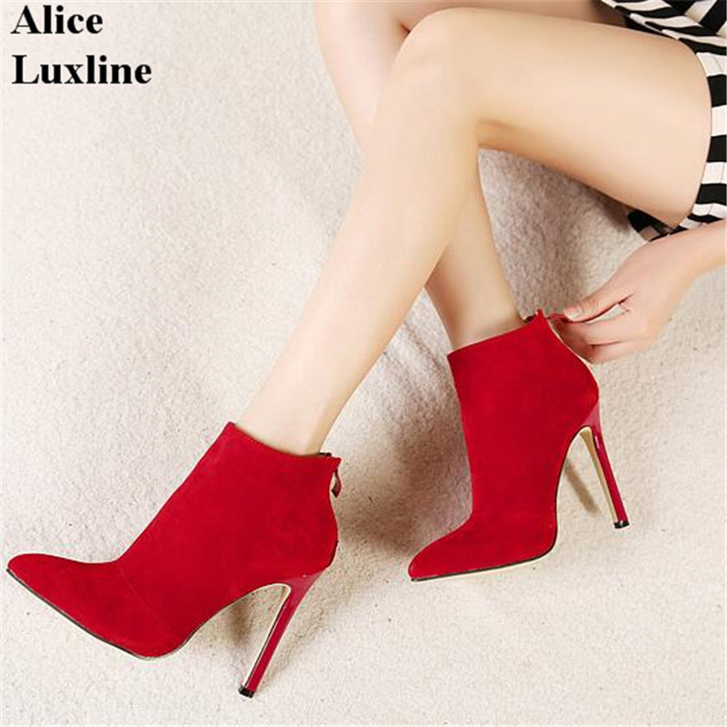 все цены на New 2016 Fashion Autumn Winter Womens Boots Zipper Point Toe Thin High Heels ankle Boots Red Black Botas Mujer 35-40 plus size