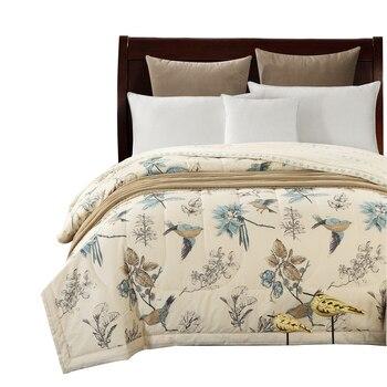 Svetanya хлопок постельные покрывала Американский пастырской птица печати бросает одеяло летние тонкие кашне stiching одеяло заполнения