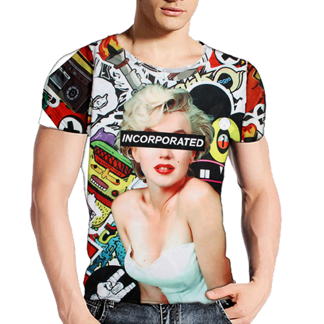 c3b3b15e3 Sexy Marilyn Monroe Tattoo Funny T Shirt For Men/Women 3D Printed T-Shirt  Short Sleeve Tees Tops Brand T-shirts Camiseta Set B12