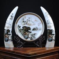 Уникальный лучший бизнес подарок на день рождения Винтаж ремесленных Пейзаж Топ высококлассные Декор фарфоровая тарелка Art статуя # Компле