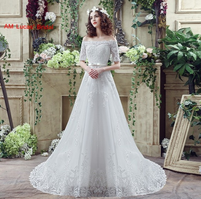 New A Line Wedding Dresses With Short Sleeves Lace Bridal Party ...