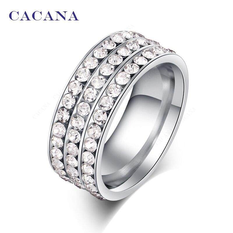 Купить на aliexpress CACANA Нержавеющаясталь кольца для Для женщин Персонализированные пользовательские Модные украшения Оптовая NO. R120