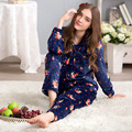 More lovely in the fall and winter of coral fleece flannel pajamas woman set long-sleeved pants head household to take49