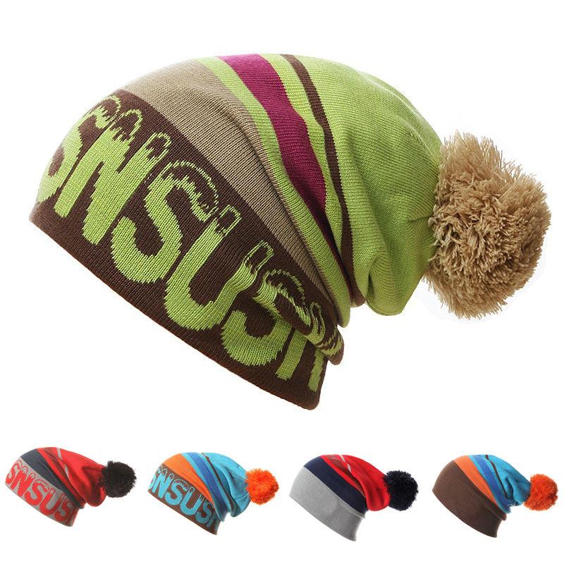 2016 New Men Women Skiing Hats Warm Winter Knitting Skating Skull Cap Hat Beanies Turtleneck Caps Ski Cap Snowboard Hat