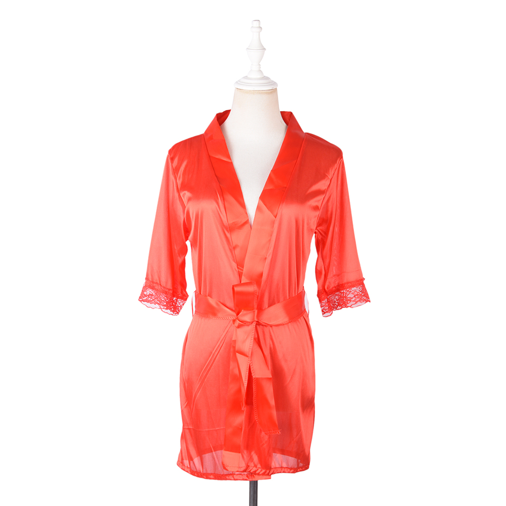 Women Robes Short Red/White/Black Sexy SILK Kimono Dressing Gown Bath Robe Babydoll Lingerie Nightdress
