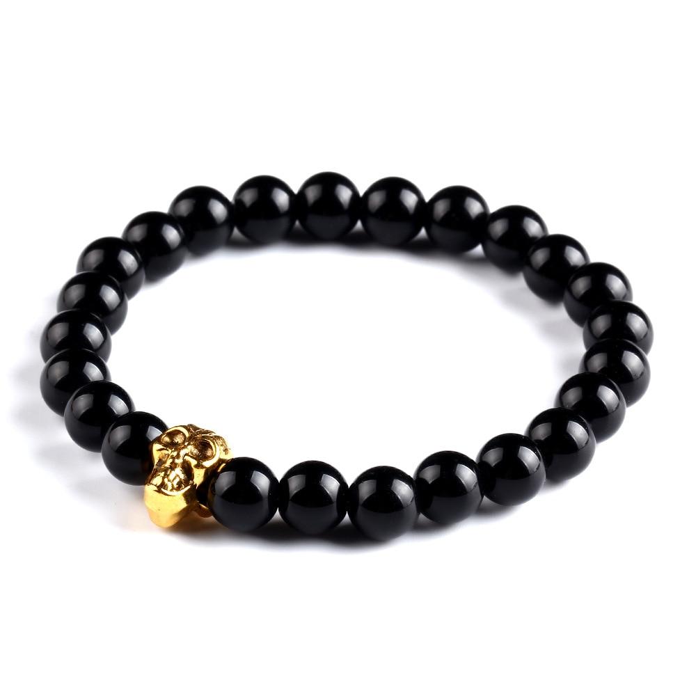 2015 Natural Lava Stone Tiger Eye Gold Silver Skull Bracelets Bangles  Elastic Rope Chain Friendship Bracelets