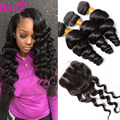 Brazilian Loose Wave With Closure Human Hair 3 Bundles Brazilian Virgin Hair Bundles With Lace Closures Unprocessed Virgin Hair