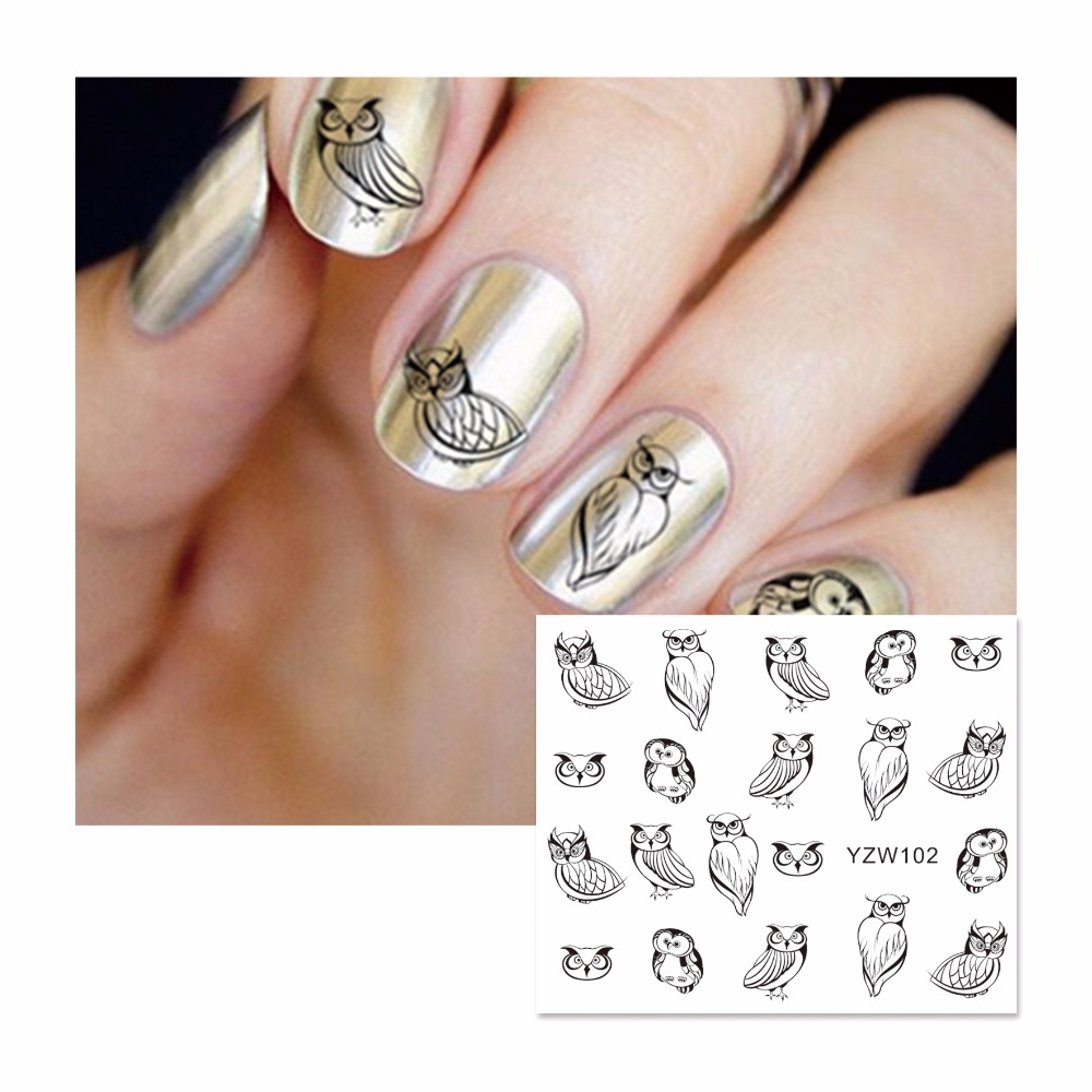 ZKO 1 Sheet Sketch Owl Design Water Transfer Nail Art Stickers Decals For Nail Tips Decoration DIY Accessories 102 30 pcs floral design manicure transfer nail art tips stickers decals 3d flowers beauty tickers for nails