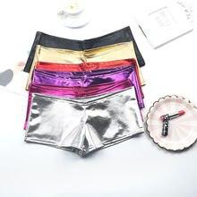 Pantalones cortos de piel sintética con charol, pantalones cortos sexis brillantes para baile en barra, Mini pantalones cortos para vestir en el Club para mujer, pantalones cortos sexis