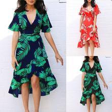 Women Summer Boho Beach Maxi Deep V Neck Sundress party dress  elegant summer